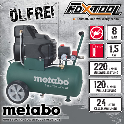 metabo druckluft kompressor basic250 24w of neu 1 5kw 8bar 24l 220l min lfrei ebay. Black Bedroom Furniture Sets. Home Design Ideas